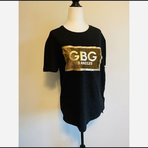 G by Guess Black T-Shirt Gold Women's Small